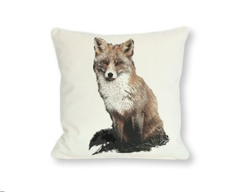 Red Fox Pillow Design - Instant Download. Printable Digital Art for your DIY projects and product ideas. XXL Format 20 x 20