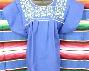 Size Large Mexican Blouse with Hand Emboidery (Royal Blue w/White and Green)