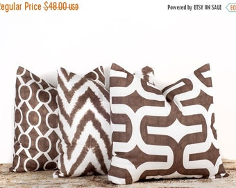SALE ENDS SOON Brown Throw Pillow Covers. Set Of Three. 16x16 inch. Brown Geometric. White