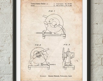 Chop Saw Patent Poster, Woodworking Tools, Garage Art, Man Cave, Unique Gifts for Dad, PP0762