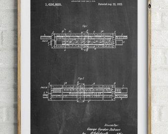 Slide Rule Patent Poster, Math Poster, Carpentry, Math Teacher Gift, Vintage Wall Art, Measuring, PP1040
