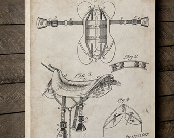 Horse Saddle Patent Canvas Art, Horse Art, Horse Back Riding, Barn Decor, Canvas Wall Decor, PP0444