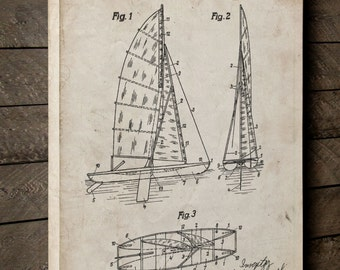 Collapsable Sailboat Patent Canvas Art, Vintage Nautical Decor, Sailing Prints, Boating Gifts, Canvas Wall Decor, PP0769