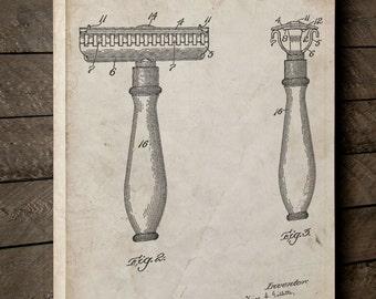 Safety Razor Patent Canvas Art, First Gillette Razor, Shaving, Vintage Razor, Barber Gift, Canvas Wall Decor PP1026