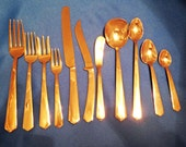 144 Pcs for 12 of Vintage Bronze Thai/Siam Flatware in Mid-Century Modern Design