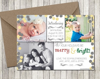Birth Announcement Holiday Photo Card | Printable Holiday Card Birth Announcement | DIY Holiday Card Birth Announcement | Baby Girl Baby Boy