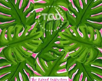 Palm Leaf Print digital paper, palm frond art, watercolor digital paper, pink and green, scrapbook paper, instant download, preppy paper