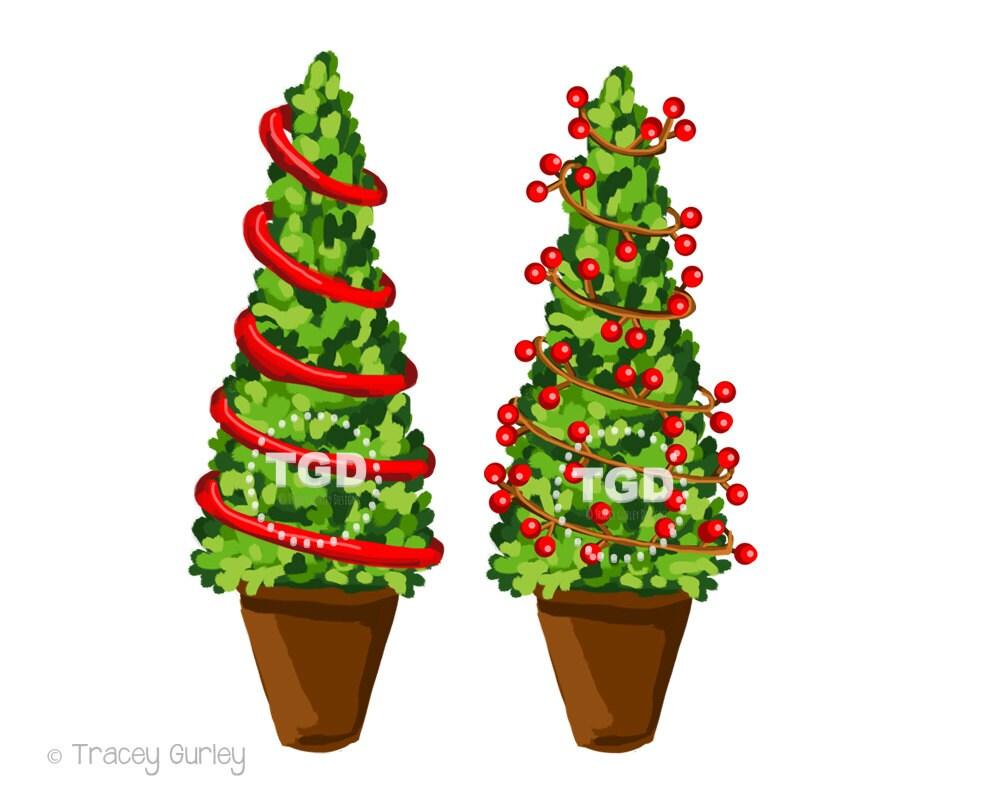 Christmas Tree Clip Art Topiary Trees Holiday Clip Art