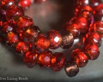 Ruby Pips (10) - Czech Glass Bead - 6x9mm - Roller Bead