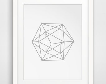 Grey Geometric Minimalist Printable Art, Sphere Decor, Geometric Wall Art, Minimalist Print, Grey Geometric Decor, Modern Abstract Art