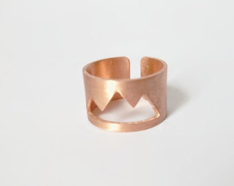 Handmade wide band mountain copper ring.
