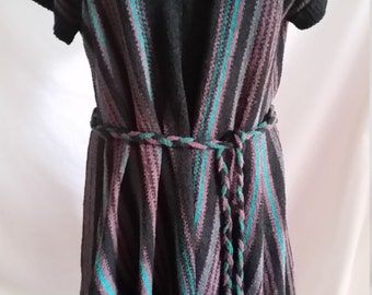 Australian designer Vivian Chan Shaw acrylic nylon green brown black striped knit top size 10