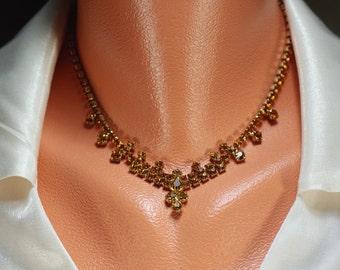 Vintage Topaz Rhinestone Glam Necklace, 50's Amber Choker Necklace, High Fashion Wedding Dressy Business Amber Gold Necklace