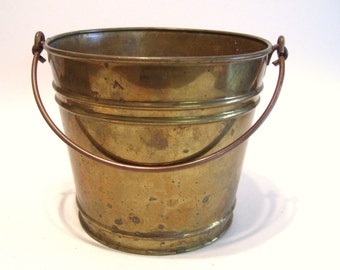 Vintage Brass Pail 6.75 Inches Tall Holds 10 Cups Rainbow
