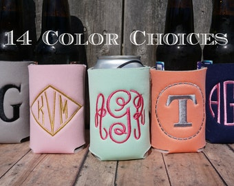 Monogram coozies, Embroidered coozies, Personalized coozies, coozie, cozie, wedding coozies, personalized, monogram, monogramed cooziez