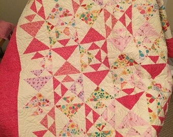 Kissing Fish Hand Made Baby Quilt - Pink