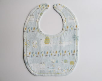 Animal Zoo bib - Reversible - Blue and Yellow - Animals and leaves