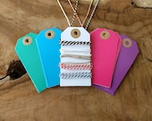40 Bright Color Tags + String | Craft Paper Hang Tags, Gloss Colour Tags, Labels for price tags, packaging, gifts, wedding or party favors.