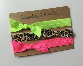 Elastic Knotted Headband Set of 3, Lime Green Elastic Headband, Cheetah Print Elastic Headband, Hot Pink with Gold Polka Dots Headband