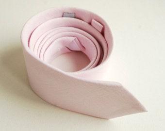 Light Pink Linen Necktie- Blush Pink Men's Tie- Wedding Ties- Groom's Necktie- Groomsmen's Neckties