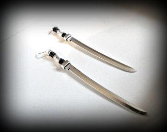 Sword earring-long sword dangle earring-medieval sword earring-knife earring