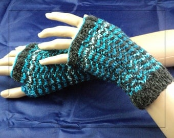 Blue Wave Handknit Fingerless Gloves. Gauntlet. Wristlet. Wrist-Warmers. Arm Warmers. Cosplay. One size fits most.