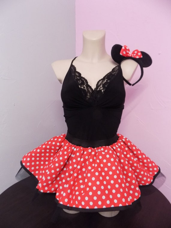 ladies minnie mouse tutu skirt red white polka dots 80 fancy. Black Bedroom Furniture Sets. Home Design Ideas