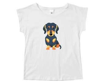Dachshund T-Shirt For Girls, Sausage Dog Clothing, Wiener Clothes, Weiner Girls Tee, White Cotton Short Sleeve T-Shirt Gift For Dog Lovers
