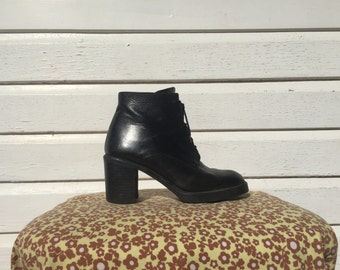 black leather lace up ankle boots witch boots granny boots AUS/US 8, UK 6, Euro 39