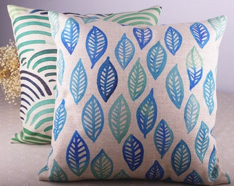 """Geometry Blue Green Leaves / Waves Cotton Linen Pillow/Pillow Cover  18"""" x 18"""" One Piece"""