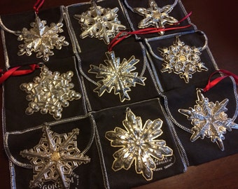 Gorham Snowflake Sterling Silver Christmas Ornament Pendants - 1971 and 1973 available - 925 Xmas Decoration