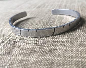 Aluminum Ruler Bracelet cuff