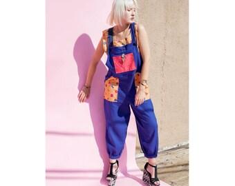 OOAK Artist Patchwork Linen Overalls Blue 1