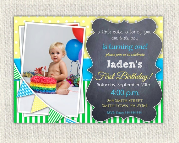 Boys 1st Birthday Invitation Blue Yellow Green Dots Stripes