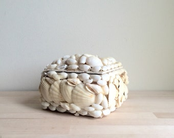 Large Vintage Sea Shell Jewelry Box