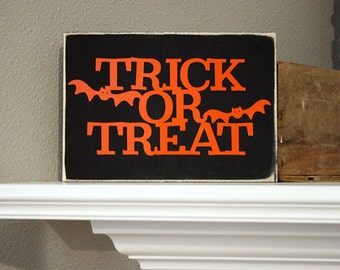 "12x8"" Trick Or Treat Wood Sign"