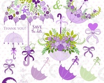 80%OFF Bridal Shower clipart, Wedding clipart, Lavender Floral clipart, Umbrella clipart, commercial use, digital clip art, AMB-1223