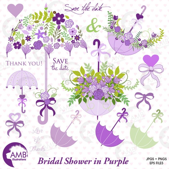 Bridal Shower Clipart Wedding Lavender Floral Umbrella Commercial Use Digital Clip Art AMB 1223 From AMBillustrations On Etsy