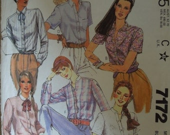 McCalls 7172, size 12, misses, womens, teens, blouse, top, shirt, UNCUT sewing pattern, craft supplies