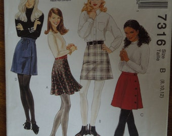 McCalls 7316, size 8-12, skirt, misses, teens, womens, UNCUT sewing pattern, craft supplies,