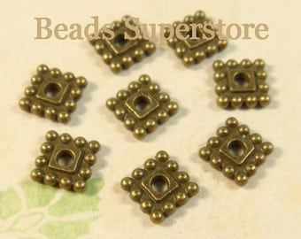 SALE 7 mm x 7 mm Antique Bronze Square Spacer Bead - Nickel Free, Lead Free and Cadmium Free - 25 pcs
