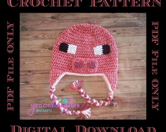 Pixel Pig Hat Crochet Pattern *** PDF FILE ONLY