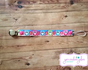 Soothie Pacifier Holder- Pink, Blue & Green Owls