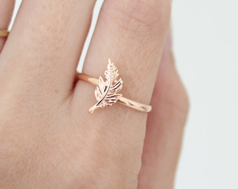 Feather ring - feather jewelry - rose gold ring - everyday ring - dainty ring - minimalist ring - nature ring - leaf ring - boho ring