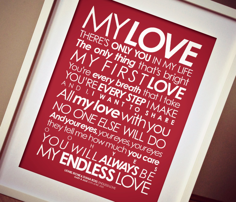 Lionel Richie 'Endless Love' LYRICS print. Option to