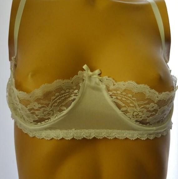 Vintage Quarter 1/4 Cup Bra White Lace 34C Sexy Shelf Bra