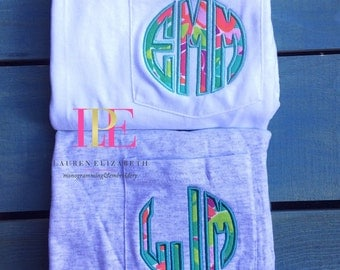 Lilly Pulitzer Inspired Monogrammed Pocket T-Shirt Short or Long Sleeve (Adult Small-3XL)