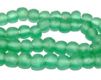 Recycled Glass Beads - green Glass Beads 14mm - African Beads - Eco-Friendly-  Made in Ghana- green round beads - 10 Beads