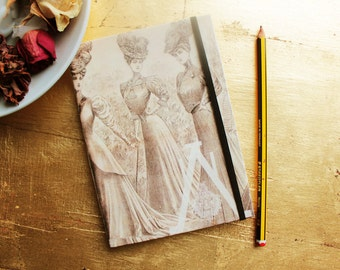 Moleskine Style Handmade Notebook Pocket Blank Book Sketchbook Journal made with laid paper: England