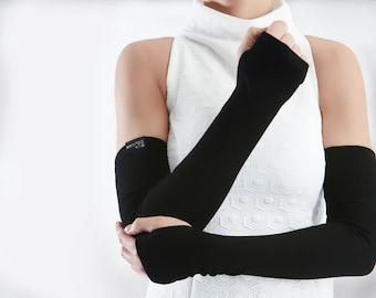 Black arm warmers long fingerless gloves jersey unisex, arm sleeves fashion- FG black